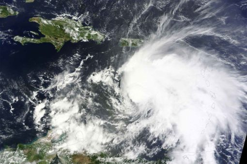 Tropical Storm Matthew organizing over the eastern Caribbean on September 29, 2016