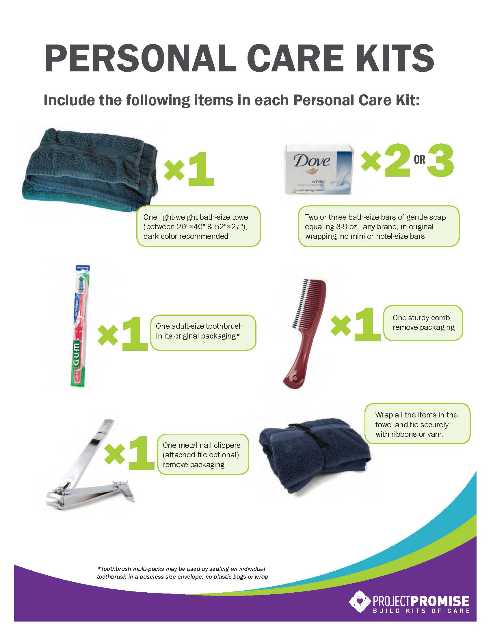 Personal Care Kits Project Promise Brand