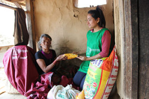 After the 2015 earthquakes in Nepal, LWR distributed food, NFIs, and other items.